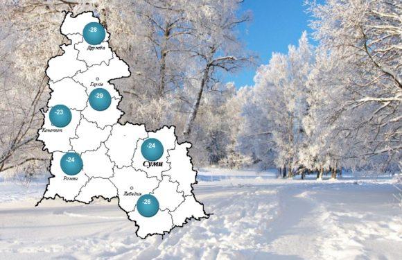 На Ямпільщині температура повітря опустилась нижче 28 градусів морозу