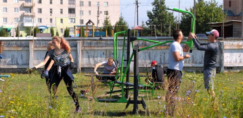 Ямпільчани навели порядок на селищному майданчику вуличних тренажерів