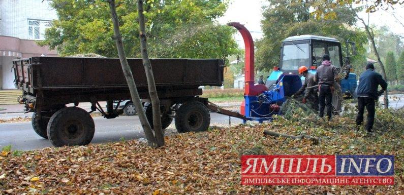 В Ямполі обрізане гілля дерев утилізують за допомогою деревоподрібнюючої установки